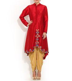 Maroon & Beige Viscose Embroidered Kurta With Dhoti Pants #indianroots #fusionwear #kurta #dhotipants #viscose #embroidered #occasionwear