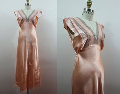 vintage 1940s nightgown / 40s nightie / 40s nos by livinvintageshop #deadstock #lingerie #peach #lace