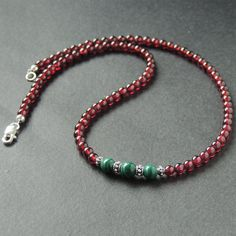 Garnet & Malachite Healing Gemstone Necklace with S925 Sterling Silver Spacer Beads & Clasp - Handmade by Gem & Silver NK083