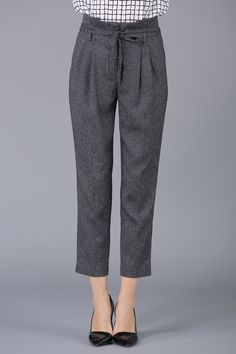 She's Deep Gray Belted High Waist Pencil Pants | Pants at DEZZAL