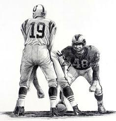 Johnny Unitas, Baltimore Colts illustration by Robert Riger
