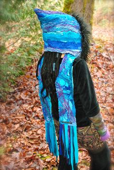 Inspiration : upcycled fabrics and yarns, faux fur          SALE scoodie Water Pixie Scoodie Gypsy by IntergalacticApparel, $120.00