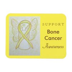 """Bone Cancer uses a yellow ribbon to support awareness for its cause. The custom magnet features a yellow awareness ribbon guardian angel art magnet with the message """"Support Bone Cancer Awareness"""". The yellow awareness angel ribbon art can be customized with personalized messages to make great cause merchandise magnets for fundraisers or awareness gifts"""