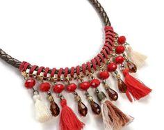 Collar étnico borla azul collar corto por NaturalColoursshop