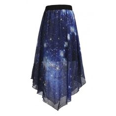 Galaxy Digital Painting Asymmetrical Swing Skirt ($41) ❤ liked on Polyvore featuring skirts, bottoms, flippy skirt, galaxy print skirt, galaxy skirt, asymmetrical skirts and blue skirt