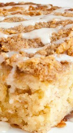 Banana Crumb Cake ~ Moist, buttery, cinnamon spiked banana cake