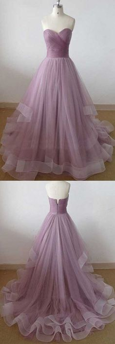 Cute A-Line Sweetheart Tulle Long Prom/Evening Dress