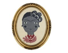 Frida - a Knitted Portrait of  - wall hanging in oval frame on Etsy, $164.00
