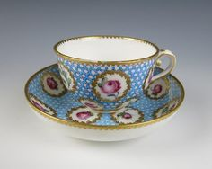 18th C Sevres Taillandier Pointille Roses CUP AND Saucer Porcelain Antique…
