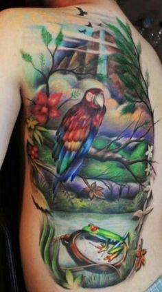 churum meru Stunningly Realistic Tattoos by Yomico Moreno Tropical Tattoo, Hawaiian Tattoo, Waterfall Tattoo, Wildlife Tattoo, Cool Tats, Nice Tattoos, World Tattoo, Sleeve Tattoos For Women, Piercing Tattoo