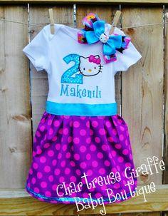 Hello Kitty Birthday Dress & Bow by ChartreuseGiraffe on Etsy, $30.00