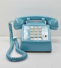 Vintage Desk Telephone - Teal Blue w/White Buttons #productdesign