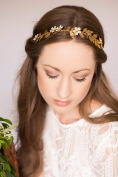 Florella Vine Headband Gold Tiara Leaf Halo Gold by AnnaMarguerite