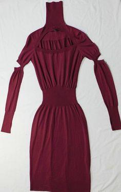 Alexander McQueen Dress (Pre-owned Plum Wool Cut-out Fit & Flare Designer Dress)