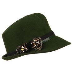 Ladies Wool Felt Bow Fedora - Olive OSFM at Amazon Women's Clothing store:
