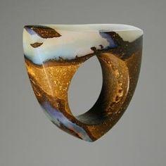 Boulder Opal by Karen Vasconi Opal Jewelry, Resin Jewelry, Jewelry Art, Jewelry Rings, Jewelry Accessories, Jewelry Design, Contemporary Jewellery, Modern Jewelry, Unique Jewelry