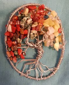 Fall Colors Tree of Life Wire Art Sun Catcher Crystal // Beaded Wire Sculpture // Brown, Green, Yellow Natural Gemstones