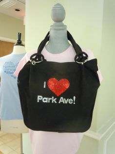 I Heart Park Ave Canvas Tote in Blaci With Clear by ILUVWinterPark, $70.00