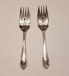 """RARE DOMINICK & HAFF Sterling silver Pierced Salad Forks - 6"""" - Two (2) Forks by JCMNATURALREMEDIES on Etsy Rose Basket, Flower Basket, Father's Day Specials, Long Flowers, Mothers Day Special, Glass Cube, D 20, Colorful Socks, Forks"""
