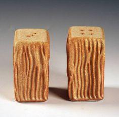 Ben Rigney Medium Rectangle Yellow Salt & Pepper Shakers with Lines