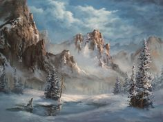"""""""Snowy Mountain"""" Oil Painting by Kevin Hill  Watch short oil painting lessons on YouTube: KevinOilPainting  Visit my website:www.paintwithkevin.com  Find me on Facebook: Kevin Hill Follow me on Twitter: @Kevin Hill"""