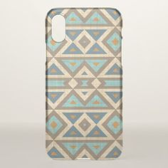 Teal Turquoise Orange Brown American Indian Art IPhone X Case