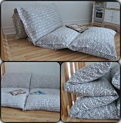 DIY Pillow Bed: Fold a twin sheet in half long ways, then sew sections the size of a pillow case, next insert pillows leaving ends open to remove pillows and wash. Or sew pillowcases together, or 3 yds fabric and 4 pillows Diy Pillows, Floor Pillows, Sewing Pillows, Pillow Mattress, Sewing Projects, Diy Projects, Couture Sewing, Room Decor, Interior Design