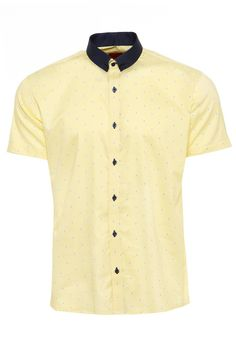 Men's printed short sleeved polycotton shirt with plain collar - DELTA  Available to Purchase at: http://www.swade.co.uk/shirts/delta-497-69-1680.php