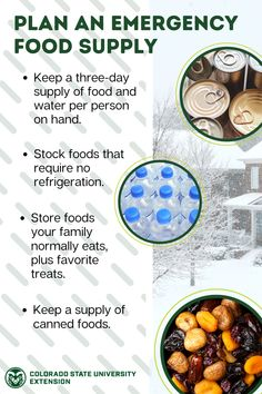 Plan ahead for emergencies such as an ice storm, blizzard, power failure, or illness that would prevent you from getting to the store. Learn more about food safety and storage for emergency preparedness by visiting the link. Emergency Preparedness Food, Emergency Food Supply, Ice Storm, Food Safety, Colorado, Nutrition, Treats, How To Plan, Store