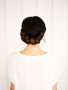 Save this step-by-step hair tutorial to achieve a twisted chignon 'do for spring.