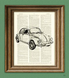 Vintage VW Beetle Bug car beautifully upcycled by collageOrama, $7.99