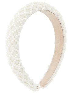 Padded Pearly Criss-Cross Headband | Nude | One Size | 8864121300 | Accessorize Star Jewelry, Jewelry Shop, Fine Jewelry, Anklet Jewelry, Anklet Bracelet, Gold Statement Earrings, Watch Necklace, Headband Hairstyles, Jewelry Trends