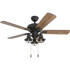 Prominence Home Piercy Coastal Aged Bronze LED Ceiling Fan