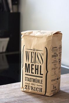 Leave it to the Swiss to make, even, flour packaging look good // Weissmehl von Swissmill, Zurich Craft Packaging, Vintage Packaging, Food Packaging Design, Paper Packaging, Coffee Packaging, Coffee Branding, Pretty Packaging, Packaging Design Inspiration, Branding Design