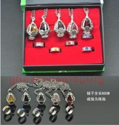 Puella Magi Madoka Magica Soul Gem 5 Necklace + 5 Rings + box Cosplay