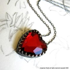 Vintage glass gothic red heart necklace