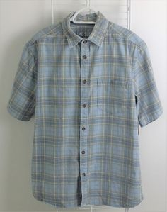 Mossimo Supply Co. Button up SS Flannel Shirt Borage Blue Size L #Mossimo #ButtonFront