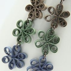 Eco Friendly Earrings Flower Chain made by Paper Quilling Artisan Jewelry . $25.00, via Etsy.