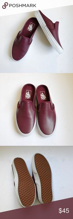 Leather Vans Slip Ons Brand new! Worn once 😍 These are adorable and so cute with any outfit. Comfy and stylin! Dark maroon color!  ❌Trades! Vans Shoes Sneakers