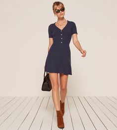 The Cardinal Dress is part of the Reformation Jeans collection. This is a mini length, fit and flare dress with non-functional center front buttons and a v neckline.  #dress #dresses #rompers #minidress #vneck #fitandflare #casualdress #style #fashion #ad