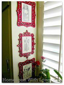 Homespun With Love: Home Decor: Vintage & Modern DIY Kitchen Art with Michaels unfinished frames