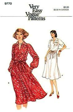 Vogue 9770 Pointed Collar Blouson Dress 1980's