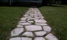 """Easy DIY cobblestone pathway. I think it cost me $12 for the cobblestone mold at Lowes and like $16 for the Quikcreat mix. I set strings the width of the mold and the length of the walkway (20') and spray painted over. Dig down 2"""" (depth of mold), remove soil, mix creat, set mold in place, pour creat into mold, troll surface flush and remove mold almost immediately and place at end of the last."""