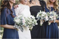 Blue and navy bridal and bridesmaids flowers and succulents