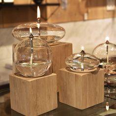 Lampe à huile Ovale en verre - L