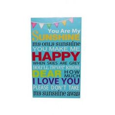 You Are My Sunshine Wall Plaque €27.95 You Make Me Happy, I Love You, My Love, You Are My Sunshine, Wall Plaques, Take My, How To Make, Dress, Products