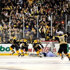 5/13/13 The crowd errupts after Patrice Bergeron netted his OT game winning goal during playoff game 7 at TD Garden vs Toronto.