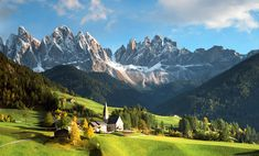 Dolomites - Italy  Since I can remember being a little girl I have always wanted to go to The Alps, the scenery is gorgeous, doesn't matter the country, they all have majestic mountains and landscapes, they literally take my breath away.