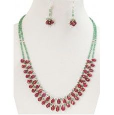 Designer Two Row Emerald Necklace With African Rubies -Free Matching Earrings