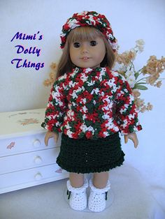 18 in doll clothes for American girl and similar 18 in Dolls, Crocheted and hand crafted Christmas Dress With matching accessories .
